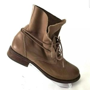 LUCKY BRAND BROWN TAN LACE UP FOLD OVER SUEDE